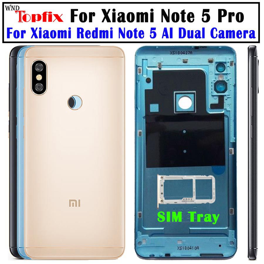 NEW Original Housing For Xiaomi <font><b>Redmi</b></font> <font><b>Note</b></font> <font><b>5</b></font> <font><b>Pro</b></font> <font><b>Battery</b></font> <font><b>Cover</b></font> Replacement Parts Case With Lens Buttons Note5 Back <font><b>Cover</b></font> case image