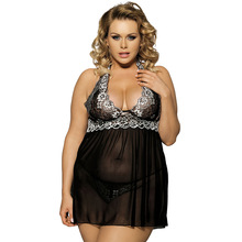 Sexy Lingerie Women Erotic Babydoll See Through Women's Nightdress Backless Halter V-neck Lace Plus Size Hollow Out Hot Pajamas