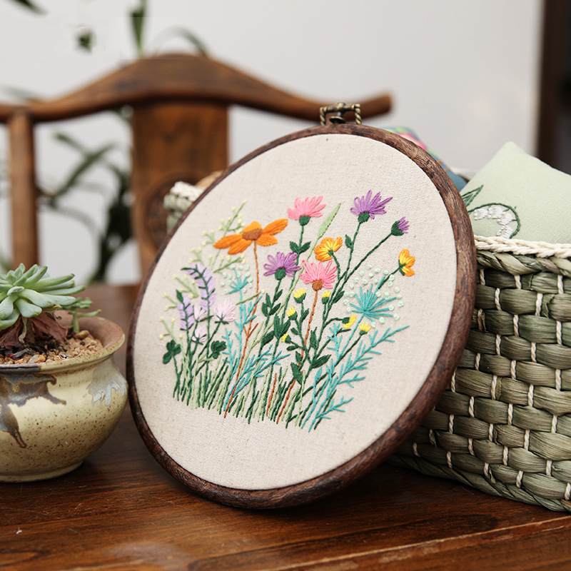 DIY Ribbon Embroidery With Retro Hoop for Beginner Needlework Cross Stitch Kit Handmade Sewing Wall Art Flowers Series(China)