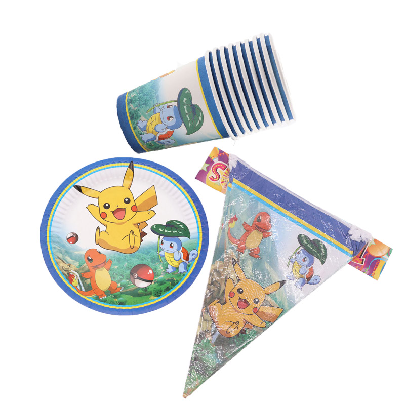 30Pcs Pokemon Cartoon Birthday Disposable Party Tableware Paper Cup Plate Flag Birthday Decorations Party Supplies Baby Shower