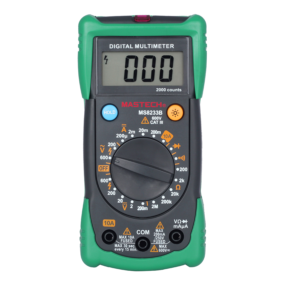 MASTECH MS8233B Professional Digital Multimeter DMM AC Voltage Meter Data Hold with Backlight Ammeter Capacitance Tester mastech ms2208 harmonic power factor clamp meter tester multimeter dmm mastech