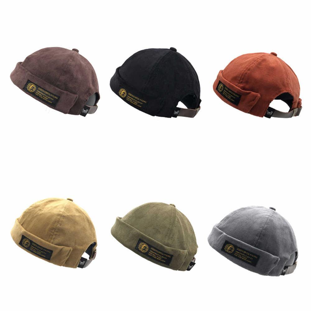 13d112f99d Unisex Casual Outdoor Warm Cap Cotton Beanies Corduroy Adjustable French  Brimless Hat Retro Skullcap Sailor Cap