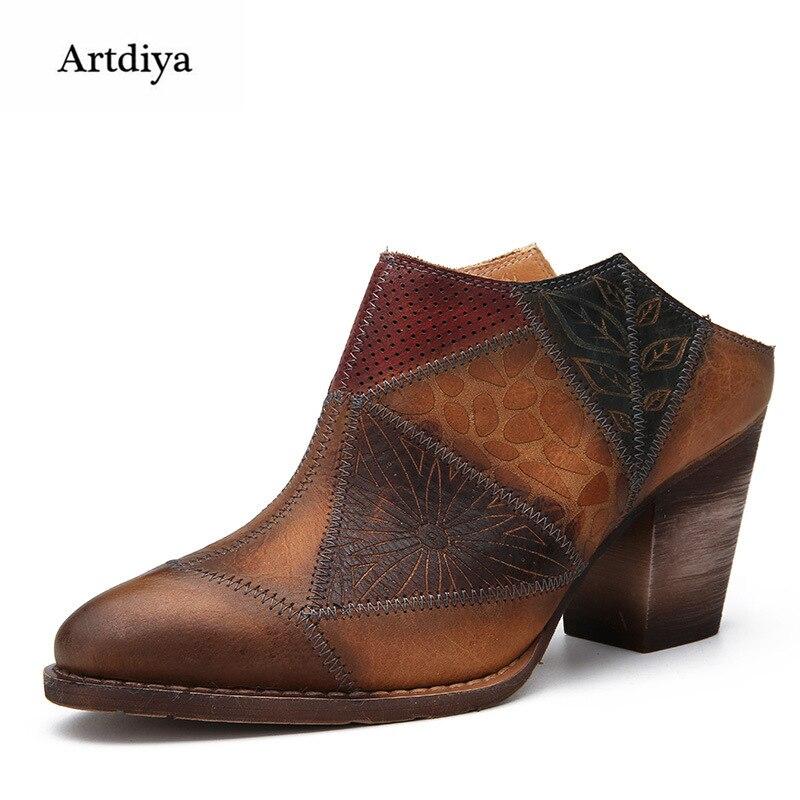 Artdiya Original Retro Mixed Colors High Heels Women Slippers Female Genuine Leather Pointed Toe Handmade Sandals D1-2