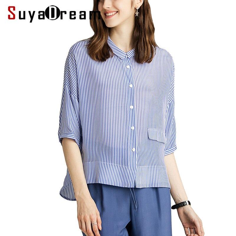 Women Stripe Blouse 100 Real Silk Crepe Printed Half Sleeved Blouse Shirt for Women 2019 New