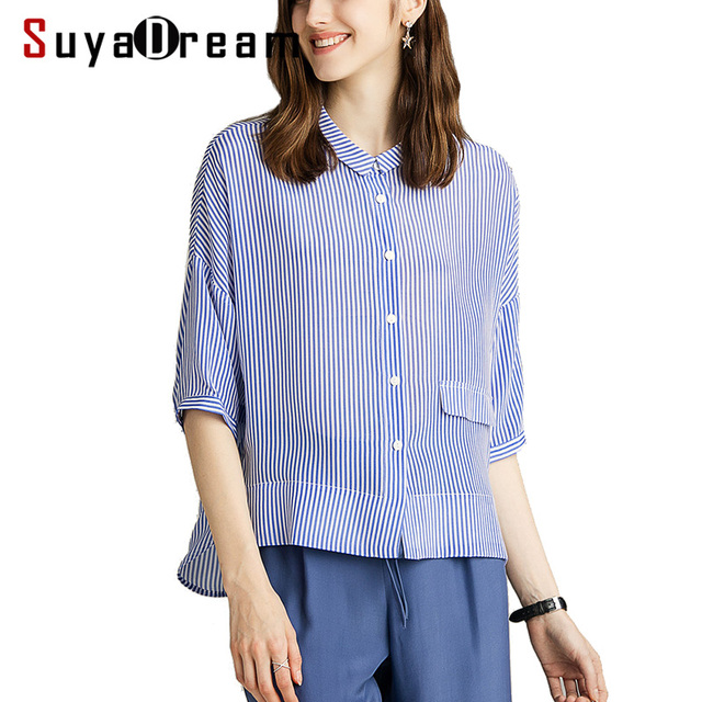 بلوزة شريطية SuyaDream 100% من الحرير الحقيقي مطبوعة بنصف كم بلوزة قميص للنساء 2020 قميص علوي مخطط جديد