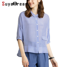 SuyaDream Stripe Blouse 100%Real Silk Crepe Printed Half Sleeved Blouse Shirt for Women 2020 New Striped Top shirt