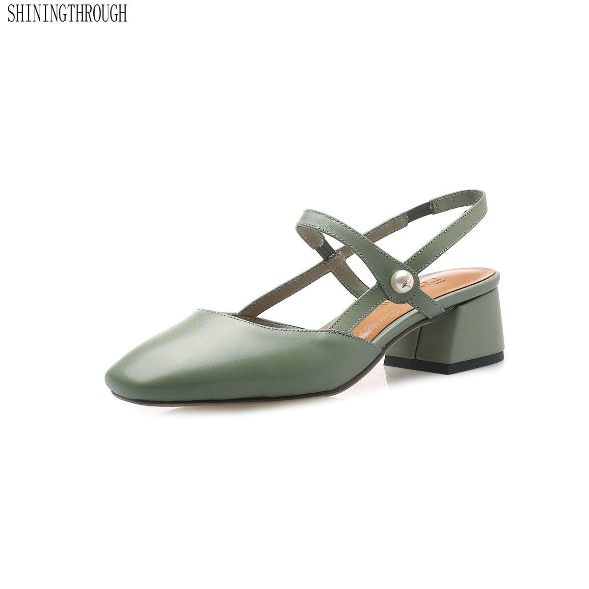 Chaussures en cuir véritable femme 4 cm med talons sandales femme bureau dames robe chaussures d'été femmes pompes taille 41 42 43