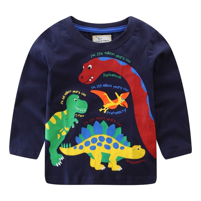 5c1f7d5942591 US $3.6 20% OFF Jumping meters Brand 2018 Long Sleeve Autumn Spring Winter  T shirt For baby kids Boys girls Cartoon Dinosaur Tshirt clothes -in ...