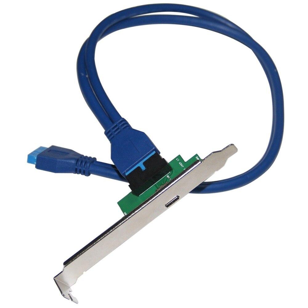 Un solo puerto USB 3,1 tipo C USB-C femenino a USB 3,0 placa madre 19 Pin Header adaptador con Panel de soporte PCI