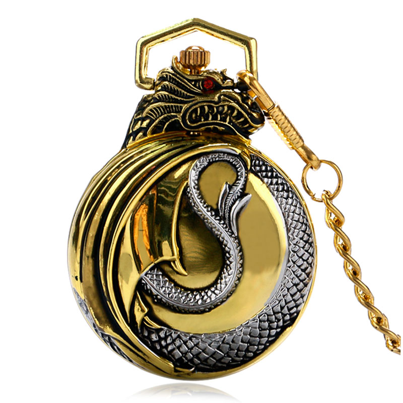 Luxury Retro Evil Dragon Theme Quartz Pocket Watch Men Women Unisex Gold Case Chain Red Garnet Inset New Arrived Gift P934C new arrival retro bronze doctor who theme pocket watch