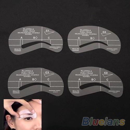 4pcs/set Styles Grooming Stencil Kit Make Up MakeUp Shaping DIY Beauty Eyebrow Template Stencils Tools Accessories 02IG 2O4P