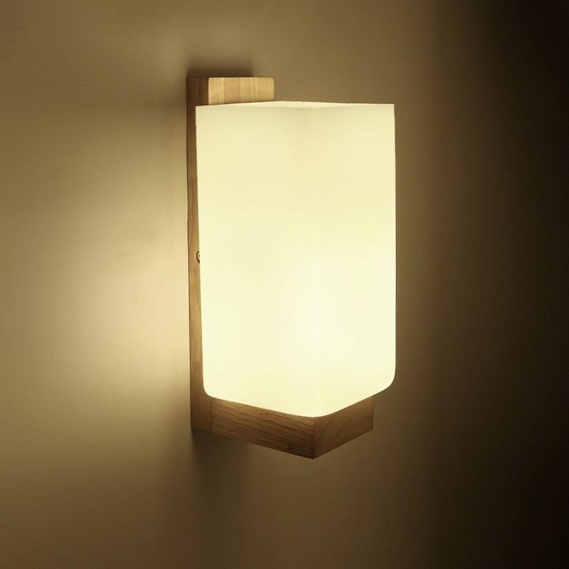 Современные настенный светильник ночник из дерева + Стекло E27 разъем для Спальня фойе Гостиная кафе-бар Ресторан Главная Обеденная