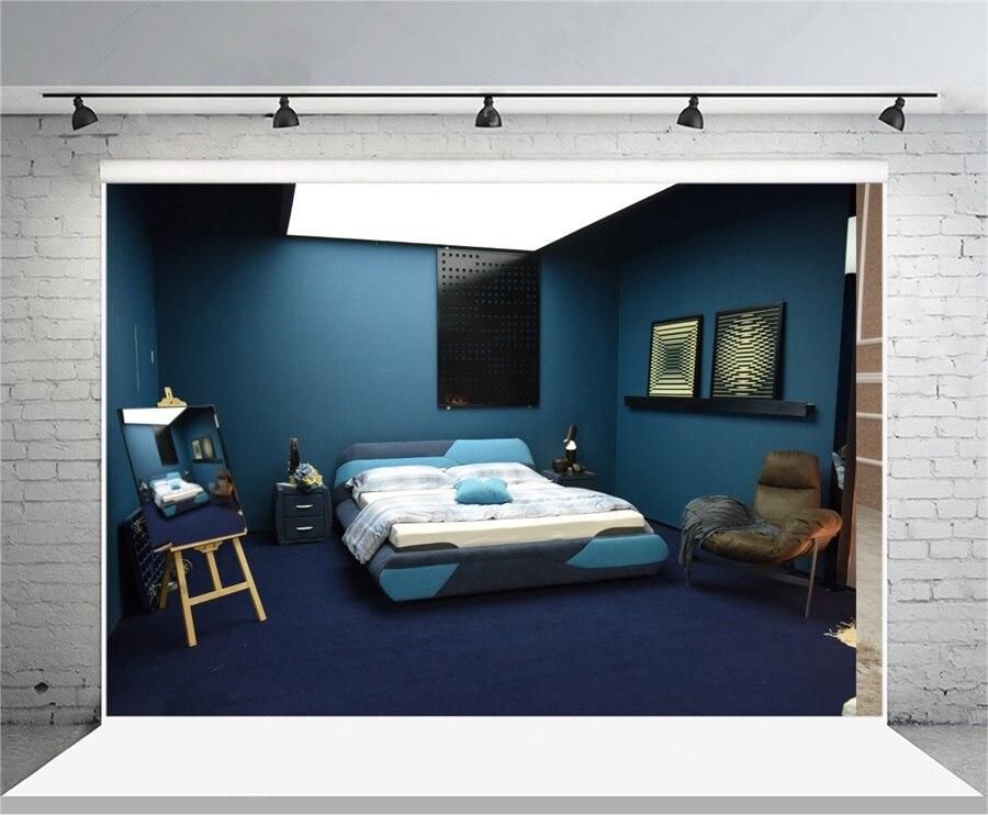 Laeacco Brief Dark Blue Bedroom Scene Photography Backgrounds Vinyl ...
