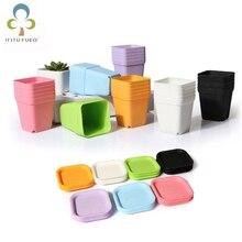 10 шт. мини квадратный пластиковый цветочный горшок для дома и офиса декоративный горшок для цветов красочные поддоны для горшков Зеленые растения искусственные WYQ
