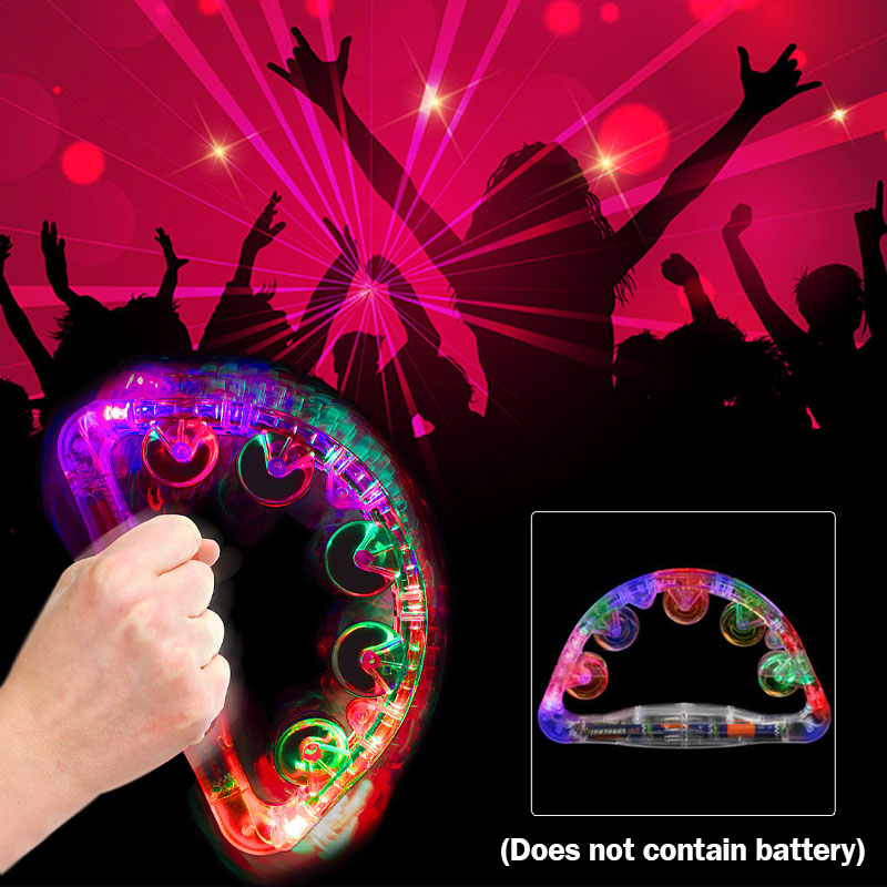 LED Colorful Flashing Wedding Show Tambourine LX Light Sway Child Party Favors Baby Rattle Toy Glow Handbell Decoration Supplies