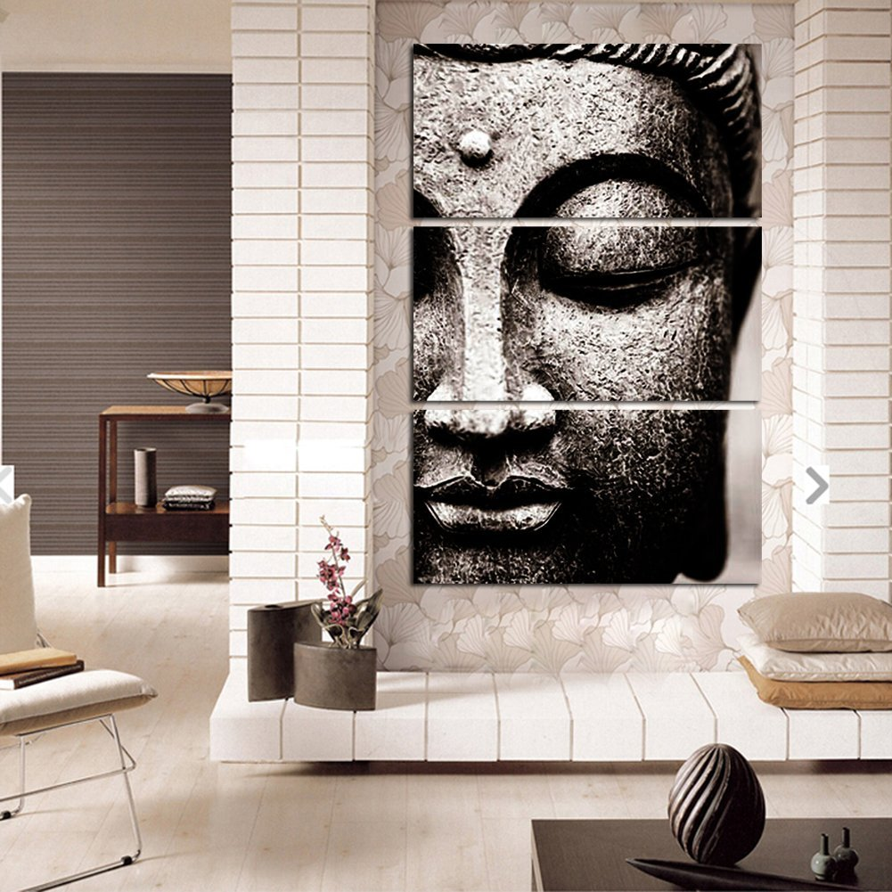 Banmu frameless gray 3 panel modern large oil style buddha for Room ornaments