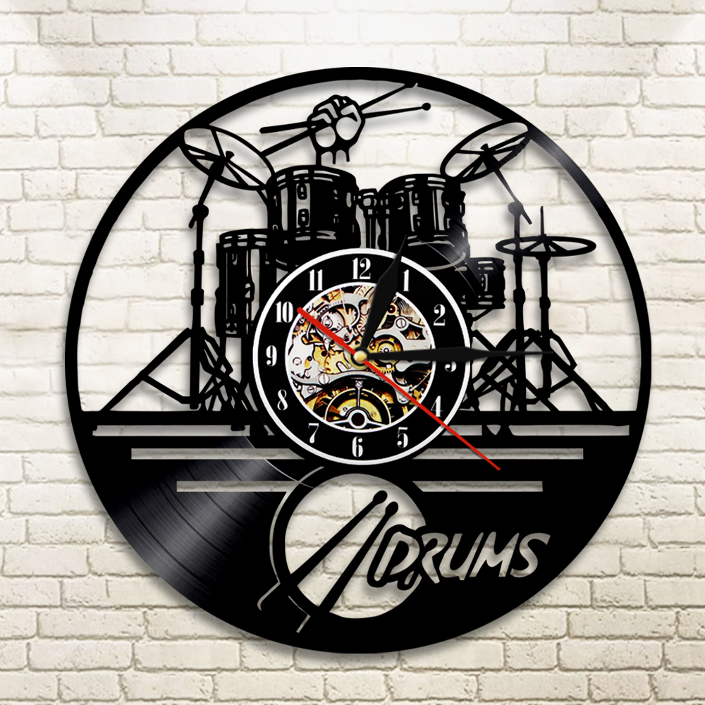 1Piece Guitar Drums Set Silhouette LED Backlight Music Band Modern Vinyl Clock Wall Clock Handmade Gift For Band Member Fan
