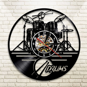 Guitar Drums Set Silhouette LED Backlight reloj Music Modern Vinyl Watch 3d Wall Clock horloge Band Member Fan Handmade Gift(China)