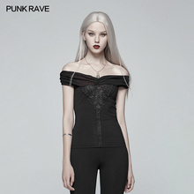 Punk Rave Women T-shirt Gothic Off-shoulder Retro Party Sexy Short Black Personality Tops for
