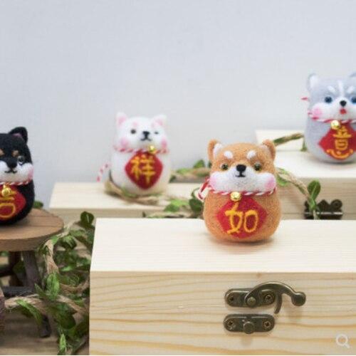 新秋田犬ハスキーキーホルダーウールニードルキットウールフェルト針フェルト装飾クラフト針仕事 DIY ヘクタール