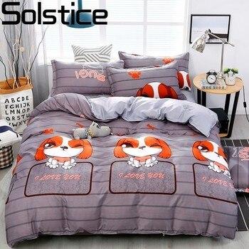 Ropa de cama Solstice de dibujos animados para mascotas con estilo de perro, ropa de cama transpirable suave, edredón, juegos de cama, sábanas, funda de edredón, funda de almohada
