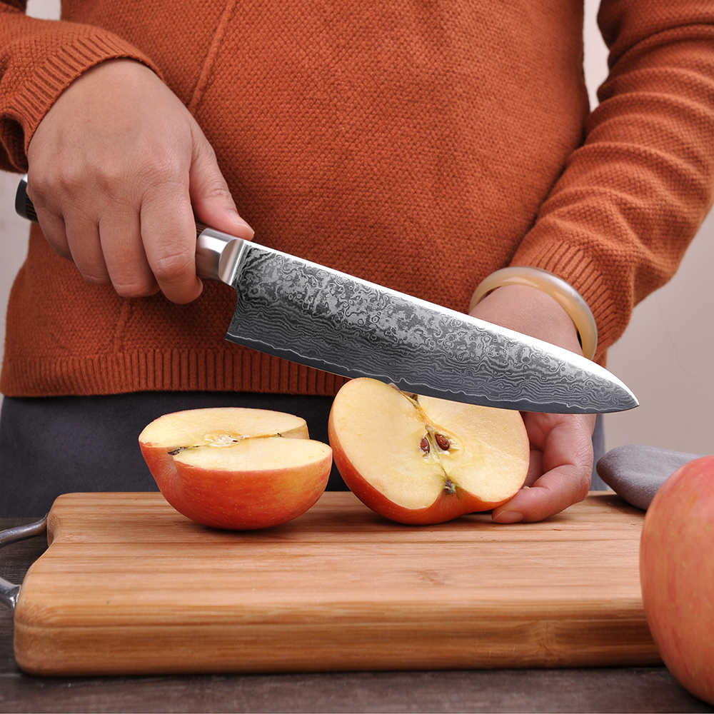 SUNNECKO Professional Chef Kitchen Knife Top Quality Japanese VG10 Damascus Steel Blade 8 inch Cooking Tools Color Wood Handle