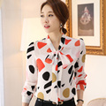 Color Printed Lady Fashion Chifffon Shirts Plus Size S-3XL Butterfly Collar Office Women Casual Blouses