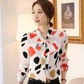 Cor Lady impresso moda Chifffon Plus Size S-3XL colarinho borboleta blusas escritório ocasional das mulheres