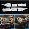 Car Accessories 6pcs Car Headlight Spray Cover Trims Head Lamp Sprinkler Lid Spray Washer Cap Kit For Jeep Grand Cherokee 14-15
