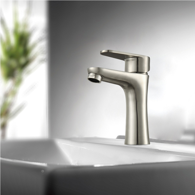 Stainless Steel Counter Basin Tap Bathroom Faucet Vessel Sink Mixer Taps  Faucet Satin Nickel Brushed
