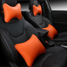 KKYSYELVA Car Seat Supports Auto Seat Back Lumbar Support leather Lumbar Back Pain Support Car Cushion Office Seat Chair Black