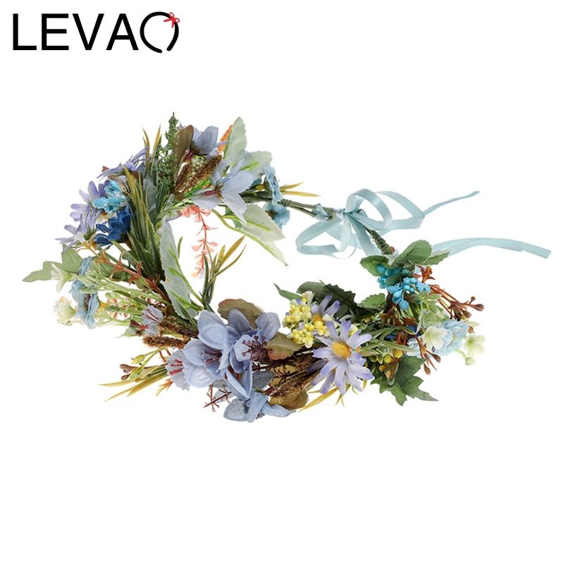 LEVAO Lady Wedding Bride Corolla Head Wreath Holiday Hair Ornament Fabric Flower Crown Hair Accessories Headband Flower Hairband