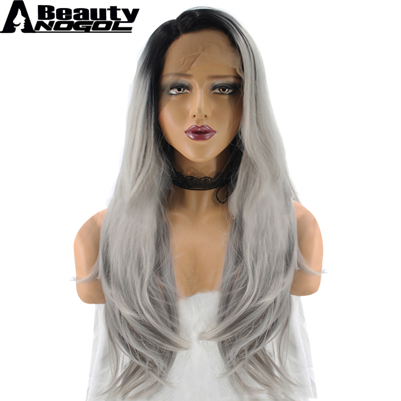 ANOGOL BEAUTY High Temperature Fiber Peruca Cabelo Full Long Natural Wave Black Ombre Grey Synthetic Lace Front Wig For Women