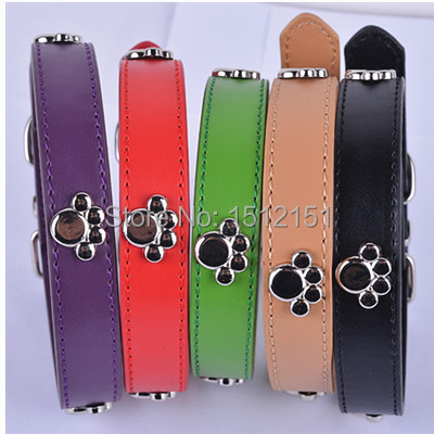 Fashion Pu Leather Collar For Dogs Personalized Paw Accessories Dog Collar 5Colors