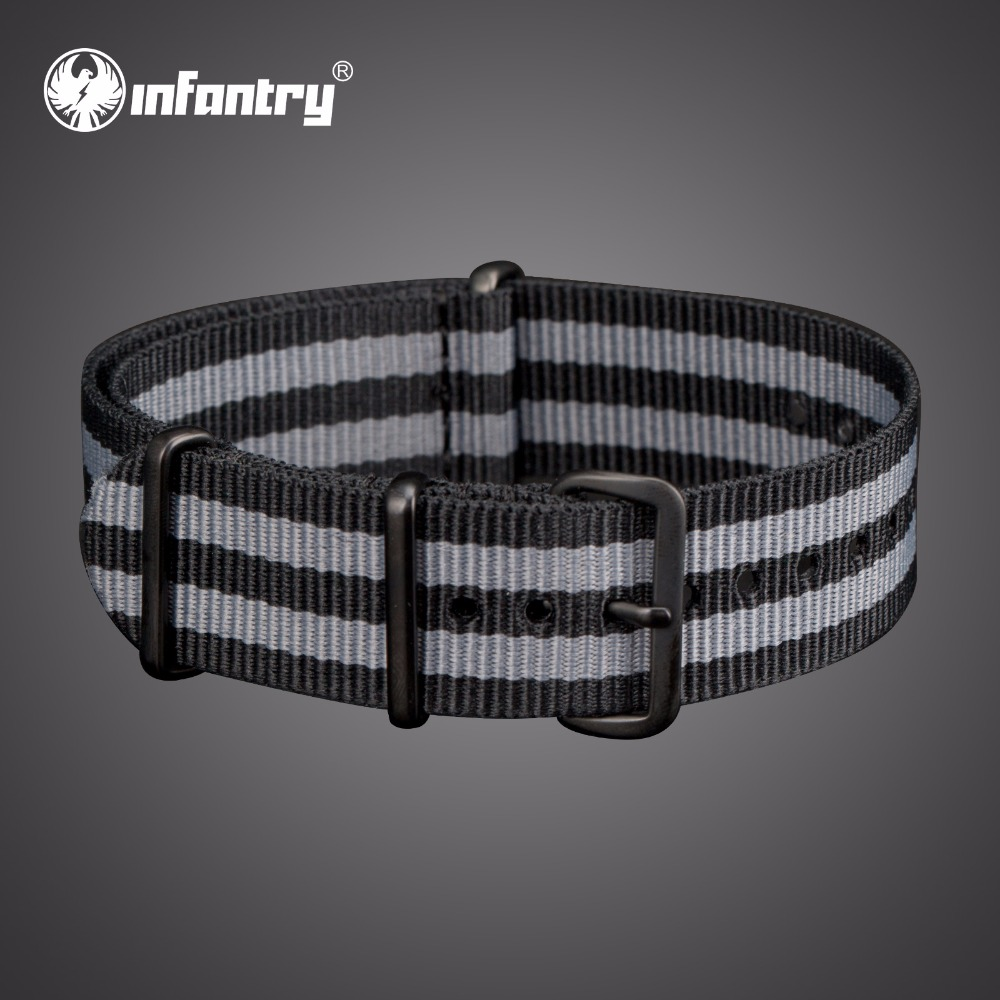 INFANTRY 20mm / 22mm Watchbands Grey Black Nylon Durable Bands with Stainless Steel Buckles for Men Watch Strap Accessories survival nylon bracelet with stainless steel buckles green