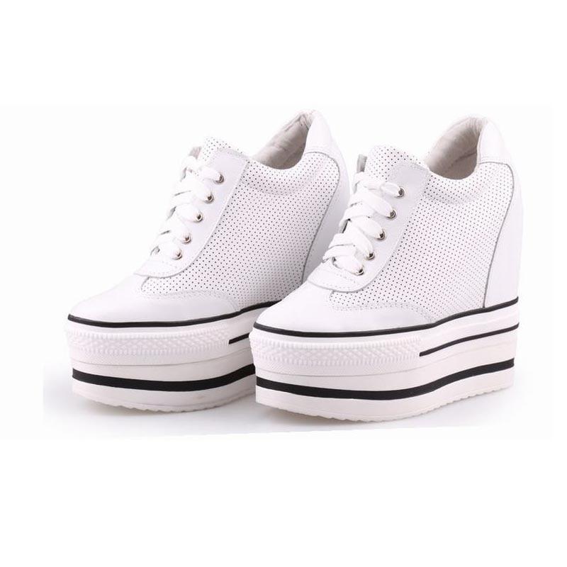 Sexy super confortable chaussures à lacets talons chaussures décontractées haute qualité en peau de mouton femmes respirant ascenseur dames plate-forme chaussures