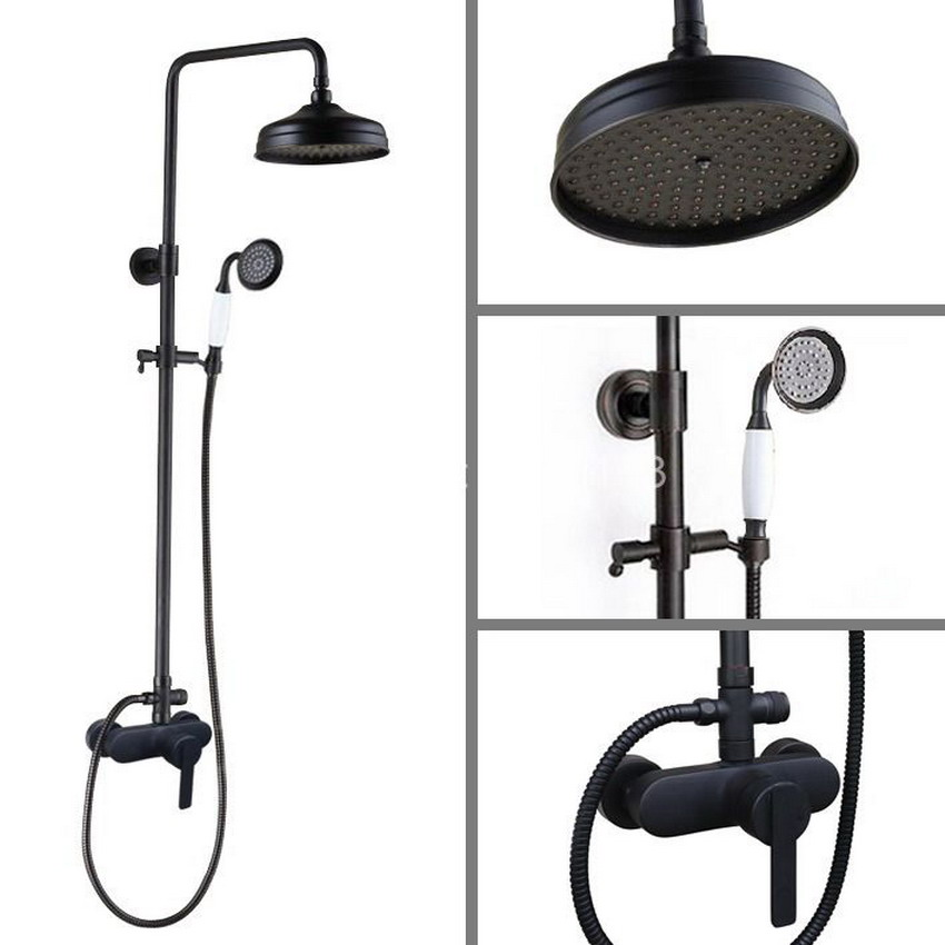 Black Oil Rubbed Single Lever Brass Wall Mount 8 Inch Rain Shower System Mixer tap Faucet Set Ceramic Handheld Shower ahg155