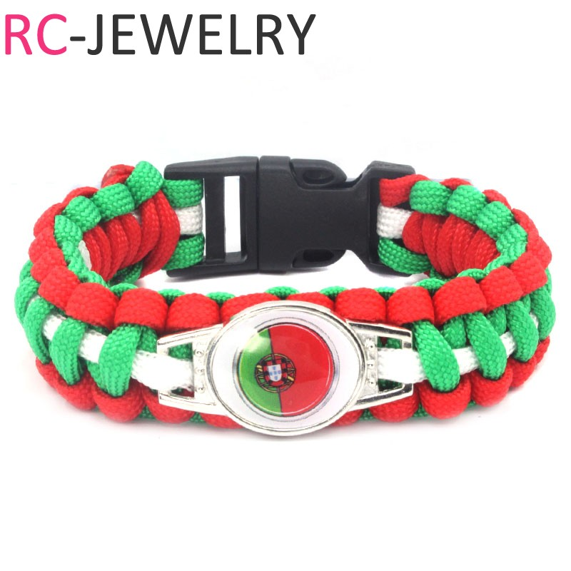 (10 PCS/lot) 2018 Russian football world cup Portugal flag Survival Paracord Bracelet bangle soccer fans gifts