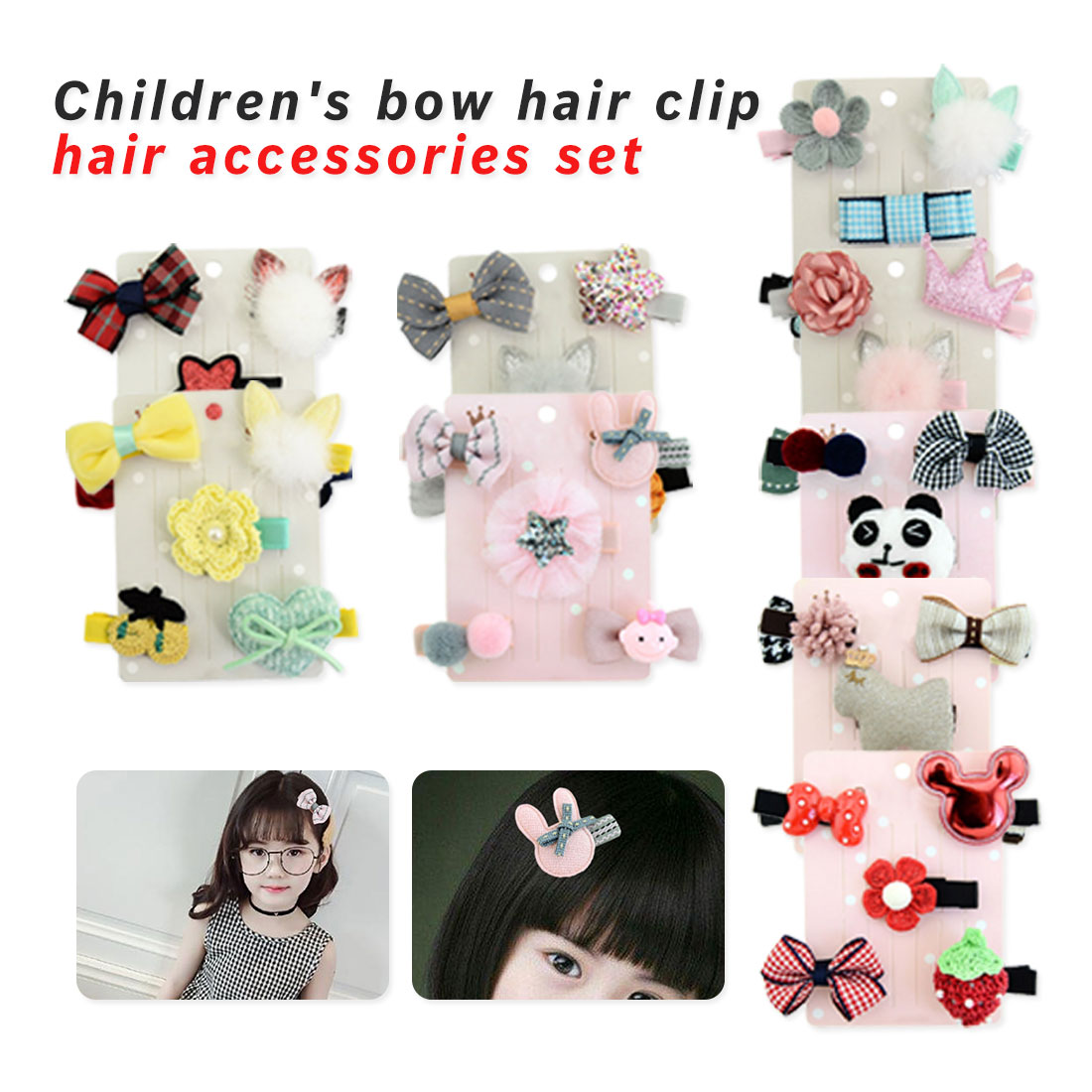 5Pcs//set Delicate Baby Kids Girls Barrettes Mini Flower Bow Hairpin Hair Clips
