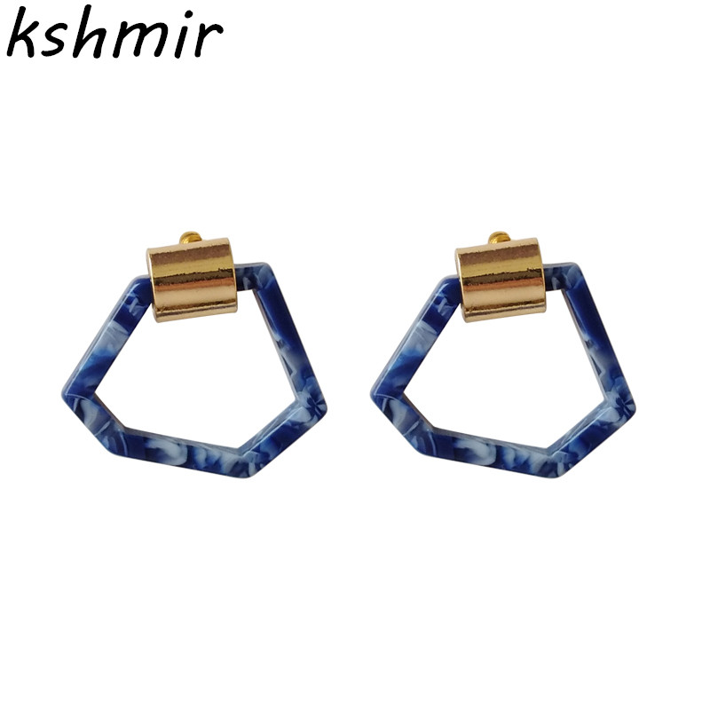 Irregular geometrical popular contracted and creative fashion women Stud earrings color fine acetate