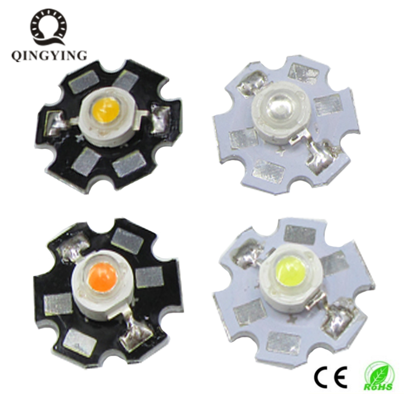 5pcs 1W 3W High Power LED Full Spectrum White Warm White Green Blue Deep Red 660nm Royal Blue With 20mm White & Black Star PCB