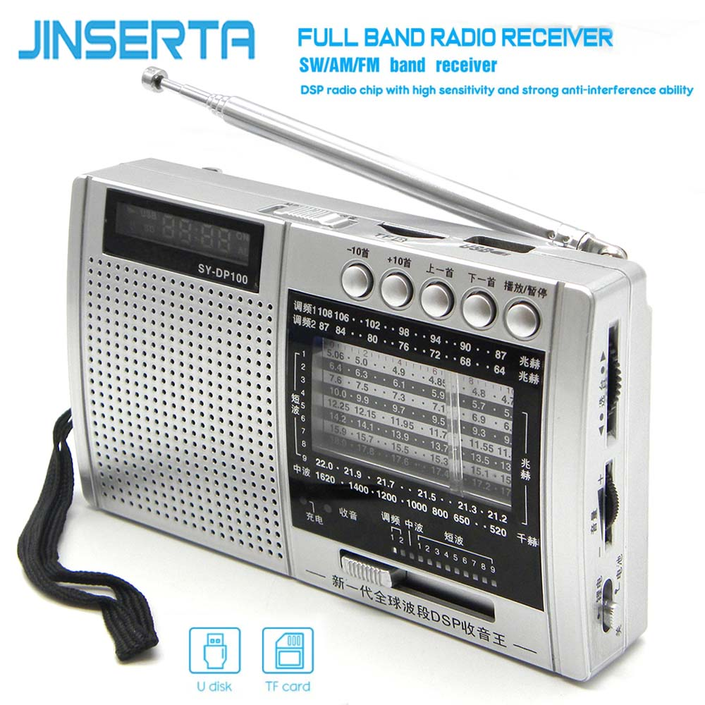 JINSERTA Portable DSP FM AM SW Radio Full Band Receiver Music Player with 3.5mm Headphone Jack LED Display Support USB TF Card
