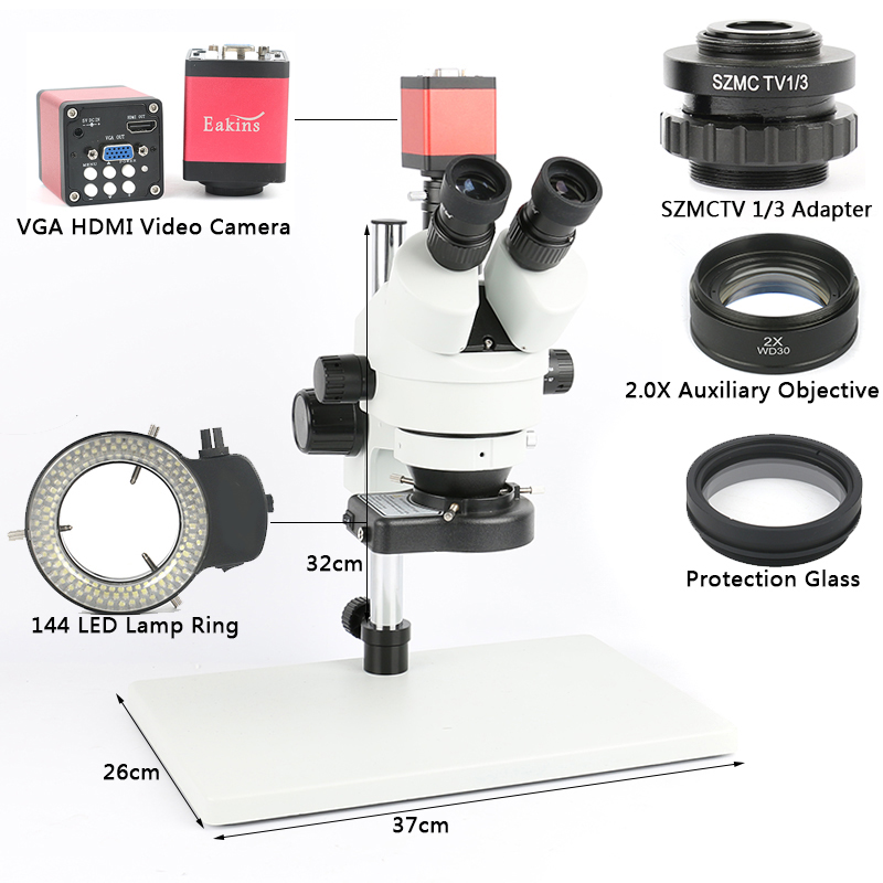 Телефон PCB Пайка Ремонт лаборатория промышленный 7X 45X 90X Simul-focal тринокуляр стерео микроскоп VGA HDMI видеокамера 720 P 13MP