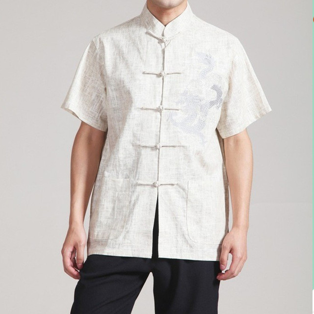 Free Shipping Beige Chinese Men's Linen Kung Fu Shirt Top with Pocket Size S M L XL XXL XXXL 2340-1