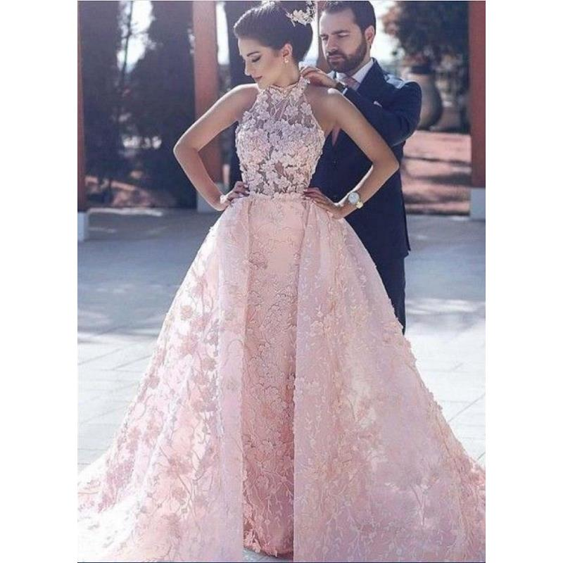 Modest Pink Lace   Prom     Dresses   Detachable Train 2019 vestidos de fiesta de noche Special Occasion   Dress   Formal Evening Gowns