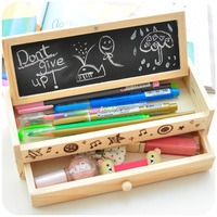 Free Shipping Korea Stationery Lovely Pencil Box Multifunctional Wooden Diy Drawer Stationery Box Multifunctional Pencil Case