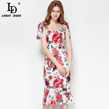 LD LINDA DELLA New Fashion Designer Runway Summer Dress Womens Spaghetti Strap Mermaid Party Floral Print Elegant