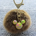 Fur Ball Pompom Keychain - 8cm Simulation Rabbit Fur Ball Micky Cartoon Pendent Keychain Ancient Copper Key Ring For Women Bag