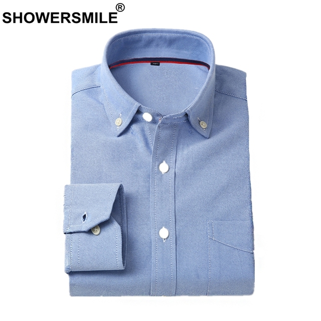 Showersmile Formal Mens Oxford Shirts Casual Dress Shirt Cotton Long