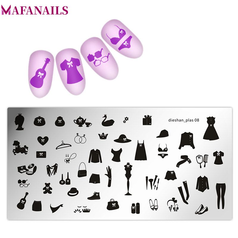 1pc Nail StampingTemplate Plates Dress/Girl/High hee Rectangle Nail Art Stamp Plate Manicure Stencils Tool Dieshan 01-24 Styles